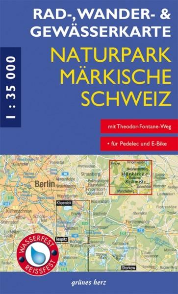 Vorderansicht der Rad-, Wander-, Gewässerkarte Märkische Schweiz