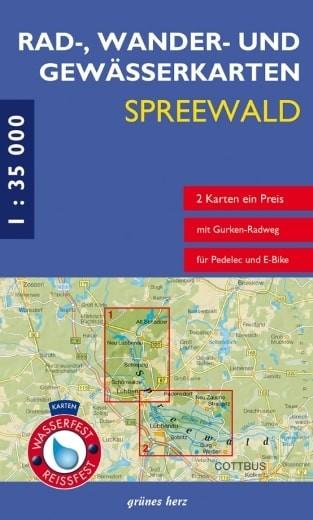 Vorderansicht Set Rad-, Wander- und Gewässerkarte Spreewald