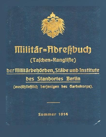 Militär-Adreßbuch des Standortes Berlin. Nachdruck 1914