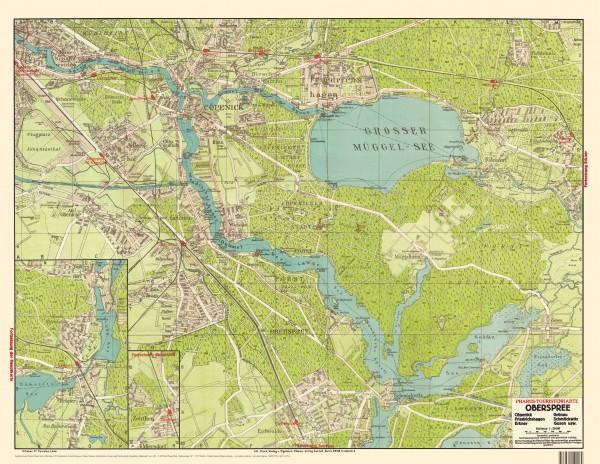2 Touristenkarten: Oberspree 1919 / Strausberg, Rüdersdorf 1918