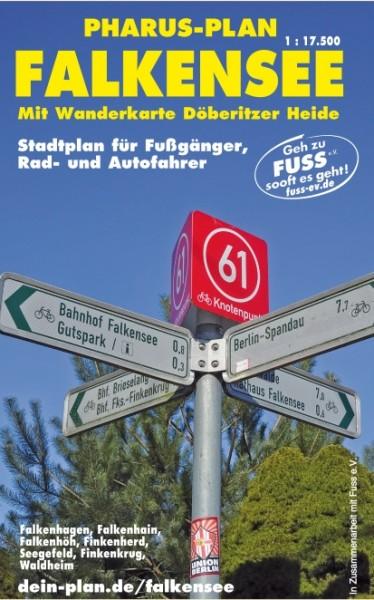Stadtplan Falkensee 1:17 500 mit Wanderkarte Döberitzer Heide