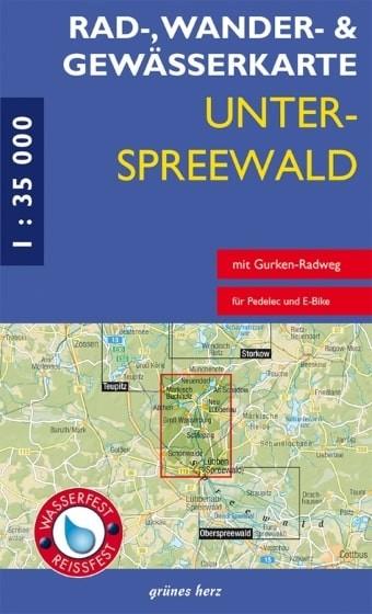 Vorderansicht der Rad-, Wander- und Gewässerkarte für den Unterspreewald