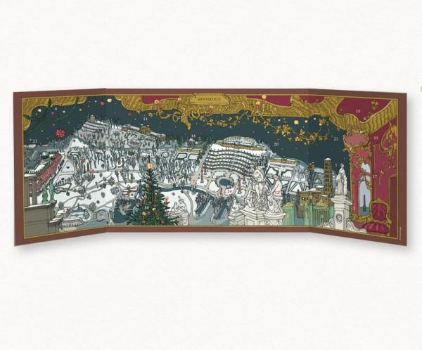 Aufgeklappte Ansicht vom Sanssouci-Adventskalender