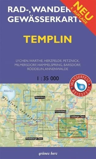 Rad-, Wander- und Gewässerkarte Templin und Umgebung