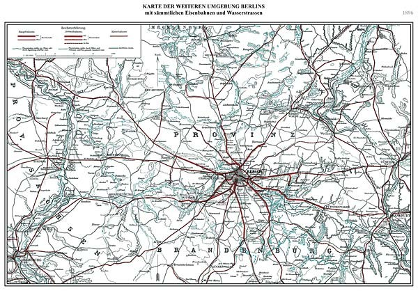 Karte der weiteren Umgebung Berlins 1896