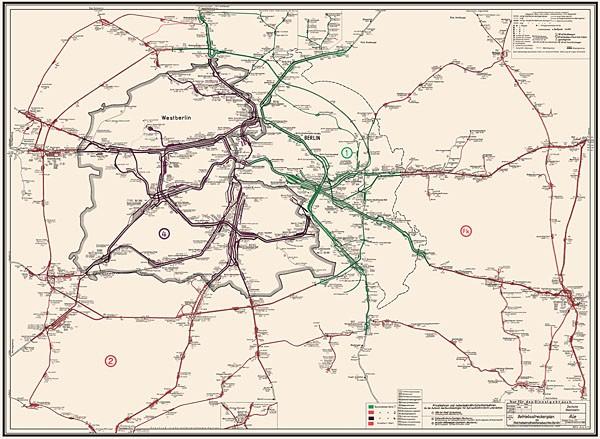 Betriebsstreckenplan / Gleisplan Reichsbahndirektion Berlin 1973