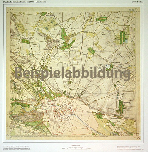 Preußisches Urmesstischblatt Zechlin und Umgebung 1825
