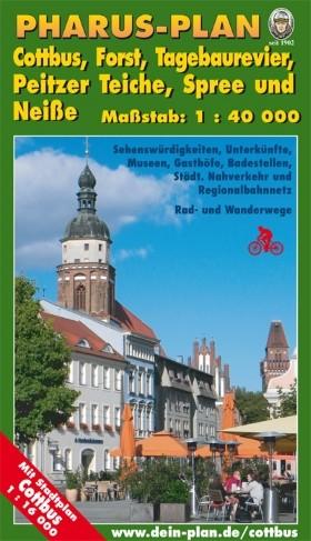 Cottbus, Forst, Tagebaurevier, Peitzer Teiche 1:40 000